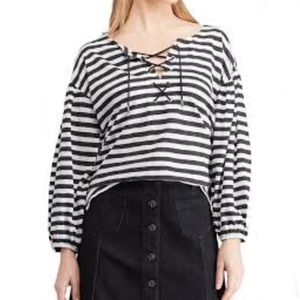Chaps striped criss cross chest top NWT large